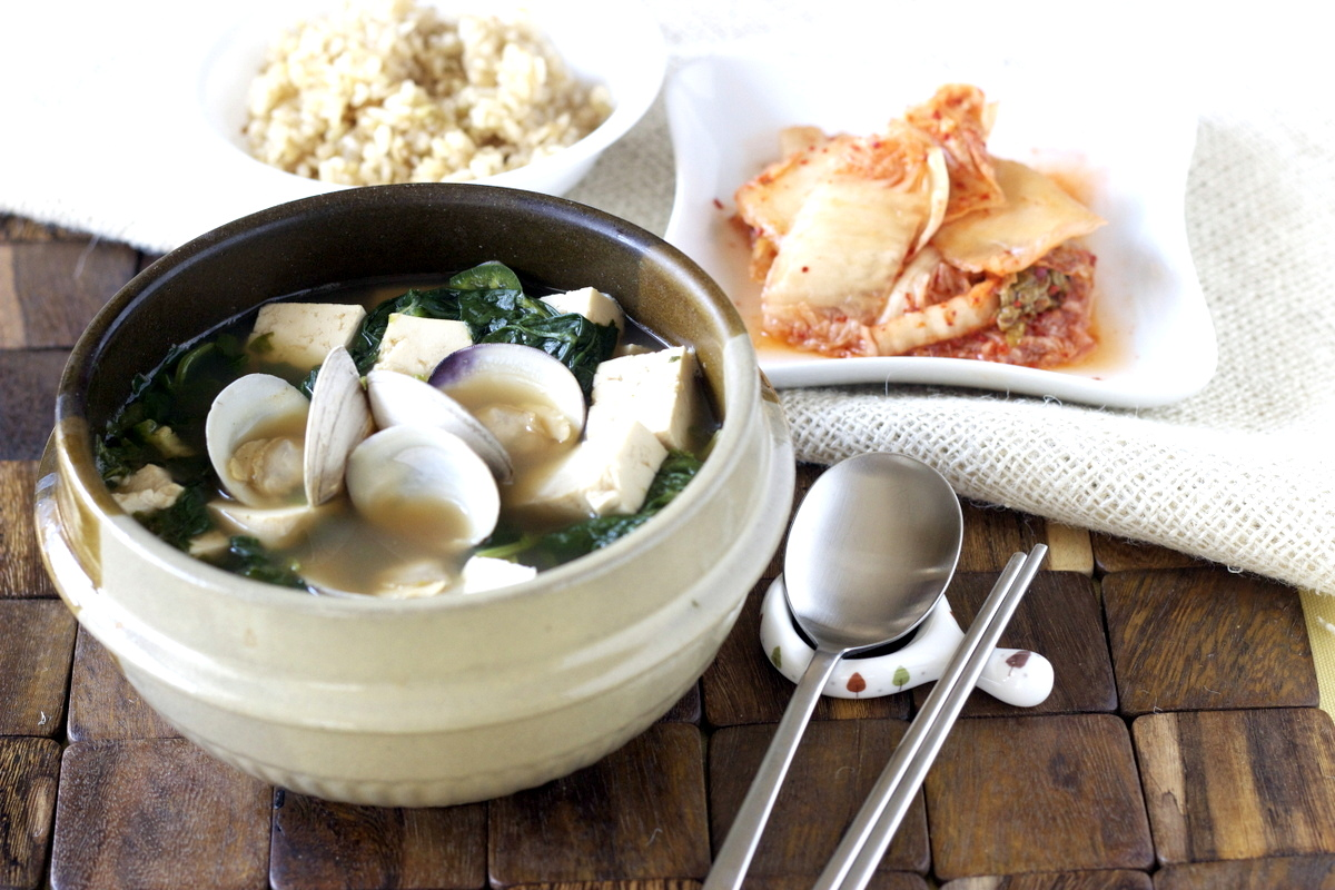 Korean Spinach Soup Korean Soybean Paste Soup With